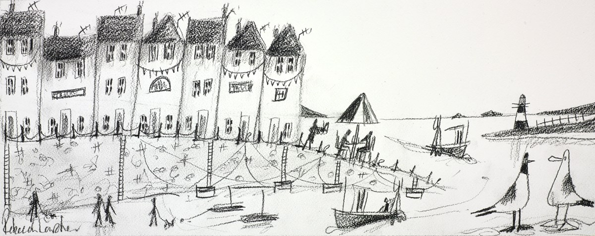 Busy Harbour Sketch IV by rebecca lardner -  sized 20x8 inches. Available from Whitewall Galleries